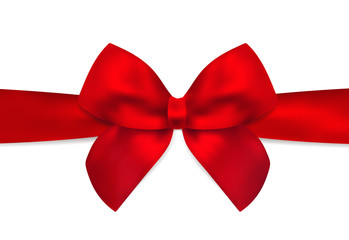 Red Bow, red ribbon for Holiday, Christmas card, Birthday card, Gift card (greeting card). Template with big lush present bow. Holiday (celebration) background design for invitation, gift design