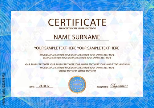 certificate template blue guilloche frame border design for