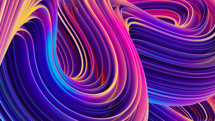 Abstract 3D liquid holographic wavy lines background for trendy design
