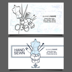 Sewing and cutting of business cards