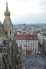 View on Vienna old town from Stephansdom Cathedral