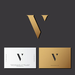 V letter. Optical illusion gold monogram. Gold V logo on a dark background. Identity. Business card.