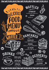 Waffle and pancake food menu template for restaurant with chefs hat lettering.
