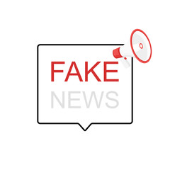 Fake News megaphone label. Loudspeaker. Vector illustration