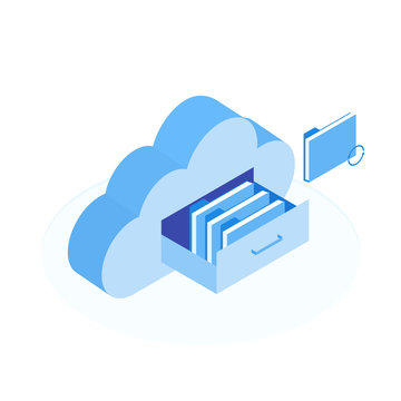 Cloud data storage flat 3d isometric business technology server concept. Document drawer in cloud-shaped cabinet. Modern isometric vector illustration