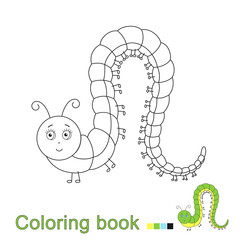 illustration of funny caterpillar for coloring book for children