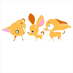 Set of illustrations in a vector, three drawings of pets, popularity