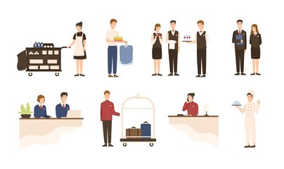 Collection of hotel staff - receptionist, maid or housekeeping service and laundry attendant workers, waiters and waitresses, chief, bellhop isolated on white background. Cartoon vector illustration.
