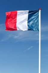 Flag of France waving in the sky