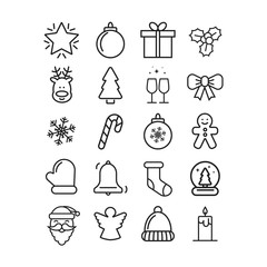 Vector christmas icon set. Holiday lines icon. Happy new year