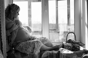 Pregnant girl black and white