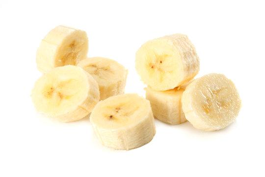 fresh banana slices isolated on white background