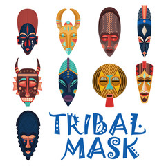 Tribal masks for african shaman or voodoo