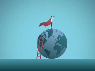 Businessman as superhero on top of the world business vector concept. Symbol of power, vision, leadership, strength, courage, ambition. Wall mural