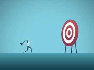Business objective and strategy vector concept. Businesswoman throwing dart at target. Symbol of business goals, aims, mission, opportunity and challenge.