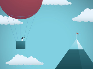 Business objective and challenge vector concept. Businesswoman in balloon flying towards mountain with flag. Symbol of business target, mission, strategy, opportunity.