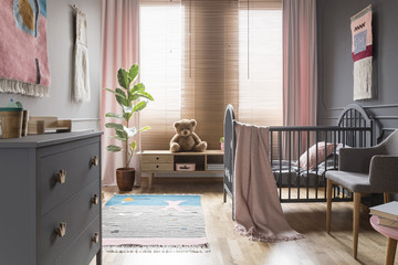 Teddy bear on wooden cupboard next to ficus in child's bedroom interior with cradle. Real photo