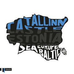 Typography map silhouette of Estonia in black and flag colors.