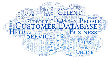 Customer Database word cloud.