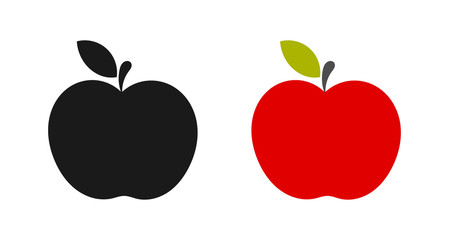 Black and red apple icons.