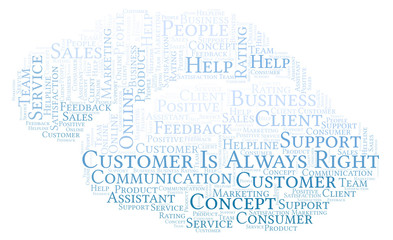 Customer Is Always Right word cloud.
