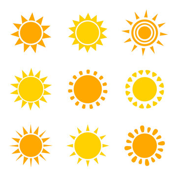 Set of orange and yellow sun icons