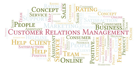 Customer Relations Management word cloud.