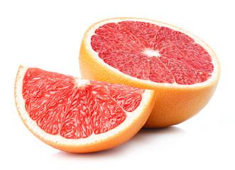 Half and slice of grapefruit