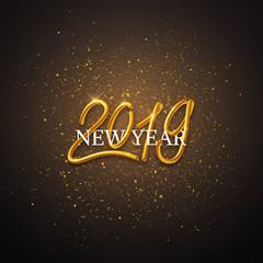 Happy New Year 2019 interlaced lettering, gold text calligraphy, modern design, vector card, banner illustration