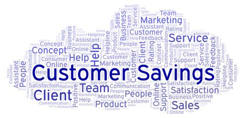 Customer Savings word cloud.