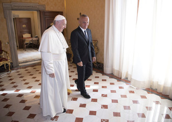 Pope Francis meets Albanian President Ilir Meta during a private audience at the Vatican