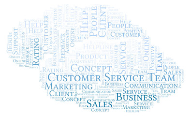 Customer Service Team word cloud.