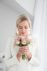 Beautiful bride with elegant makeup