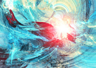 Sun in the waves. Abstract fantasy bright color motion composition. Modern futuristic painting background with lighting effect. Fractal artwork for creative graphic design