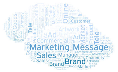 Word cloud with text Marketing Message.