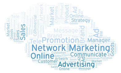 Word cloud with text Network Marketing.