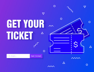 Ticket icon vector illustration in the flat style isolated on a modern gradient background. Get your ticket online