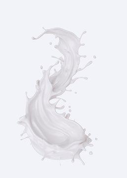 milk or yogurt splash isolated on whitee background with clipping path.