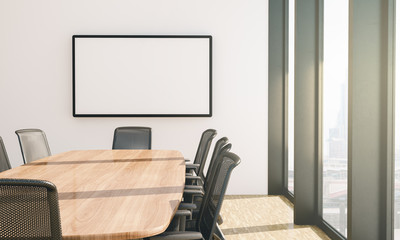 white screen mockup on conference room
