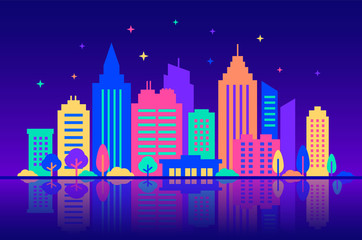 Fotomurales - Night city. Silhouettes of buildings with neon glow and vivid colors at night. City landscape template. Flat style illustration in neon vivid colors. Cityscape background, Urban life.
