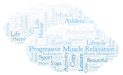 Progressive Muscle Relaxation word cloud.