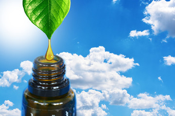 Pure and organic essential oil dripping from a green plant into a dark amber bottle