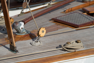 Italy. Details of a sailboat in old style moored the harbour