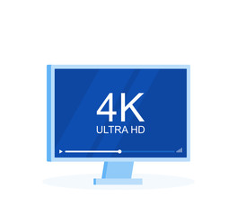 Flat screen tv with 4k Ultra HD video technology, led television display with high definition digital tech symbol. Modern flat style vector illustration