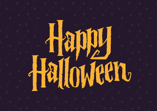 Happy Halloween lettering sign with skeleton seamless pattern