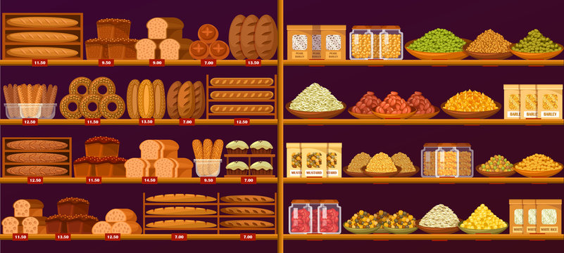Stand at shop or store with bread and cereals
