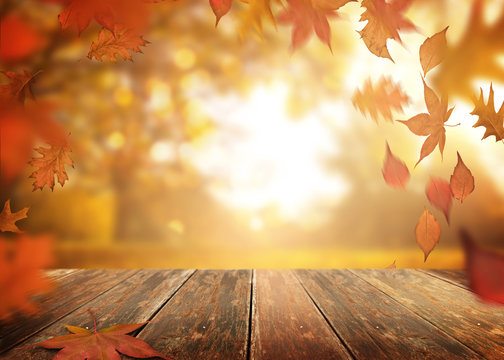 A rustic old wooden table outdoors with autumn leaves falling in the background.