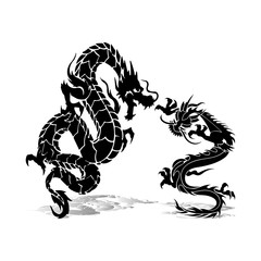 Two black dragons in fight, silhouette on white background,