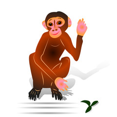 Brown Monkey sitting with raised hand (gesture, hi), cartoon on white background,