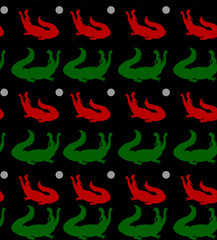Seamless pattern, two crocodiles (red and green) with open mouth looking up, on black background,